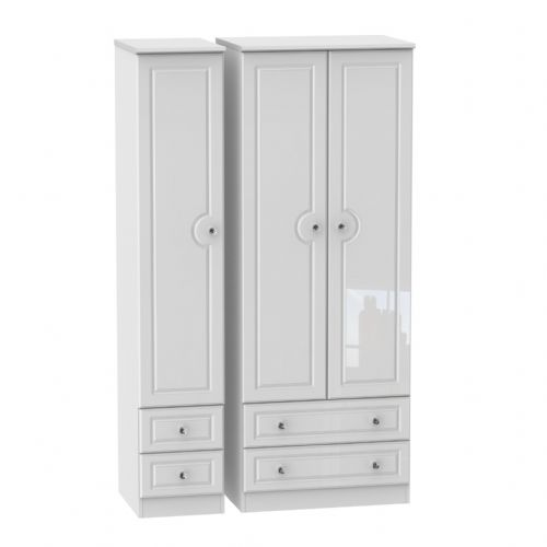 Balmoral White Gloss Tall Triple 2 Drawer and Drawer Robe
